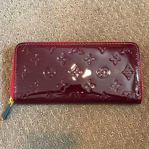 Designer burgundy faux leather wallet